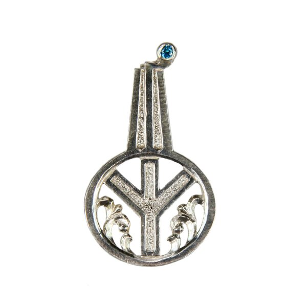 Silver Pendant with Jaw Harp Design